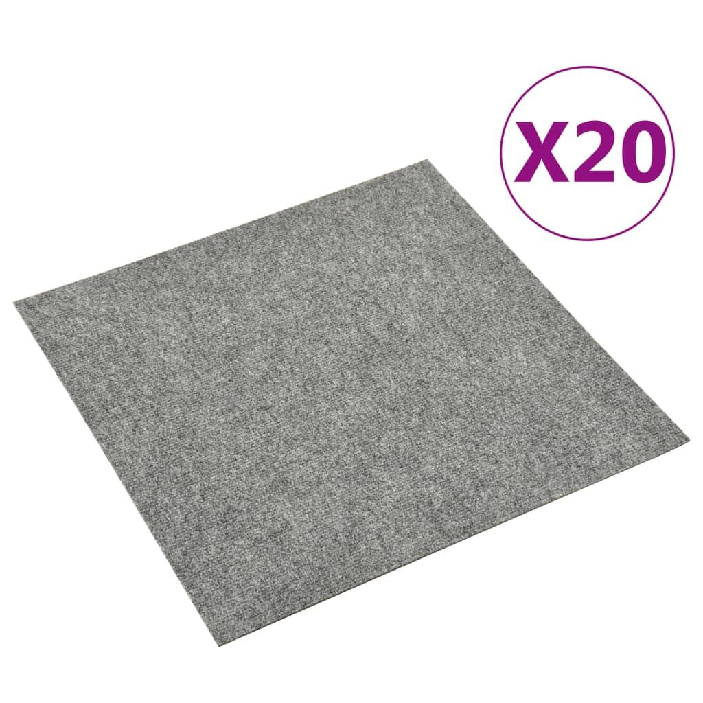 vidaXL Dale mochetă pentru podea, 20 buc., gri deschis, 5 m²