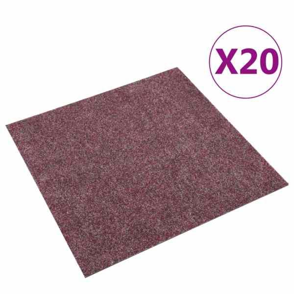 vidaXL Dale mochetă pentru podea, 20 buc., roșu închis, 5 m²