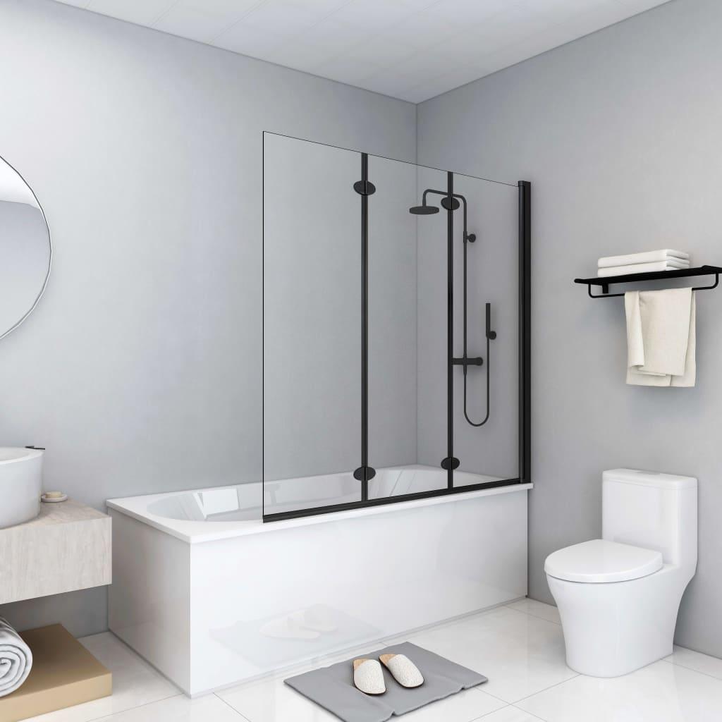 vidaXL Cabină de duș pliabilă, 3 panouri, negru, 130 x 138 cm, ESG