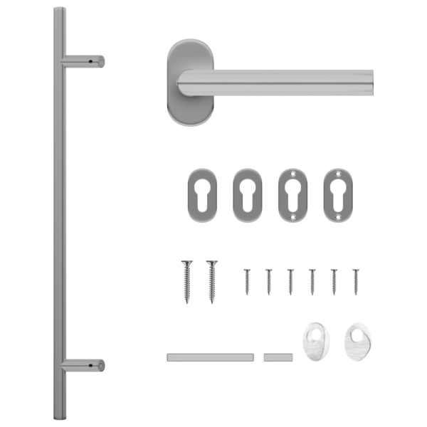 vidaXL Set de mâner și bară pentru ușă PZ 800 mm oțel inoxidabil