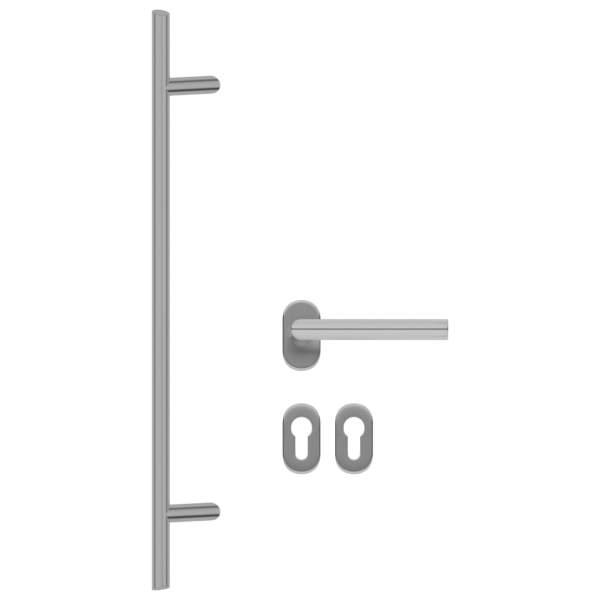 Set de mâner și bară pentru ușă PZ 800 mm oțel inoxidabil