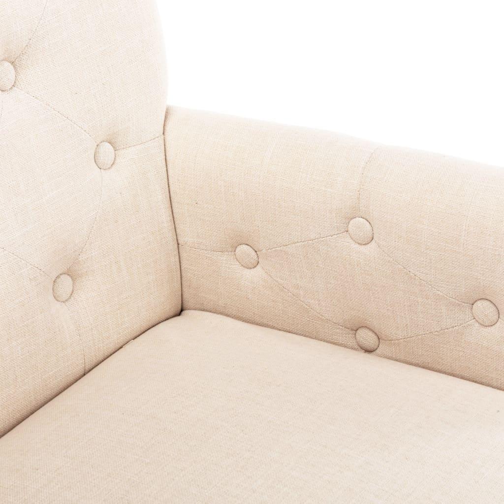 Scaun de bucătărie cu brațe, bej, material textil