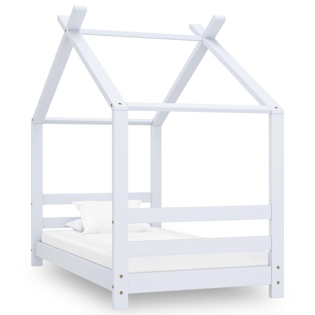 vidaXL Cadru pat de copii, alb, 70 x 140 cm, lemn masiv de pin