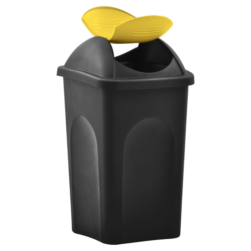 Coș de gunoi cu capac oscilant, negru și galben, 60L