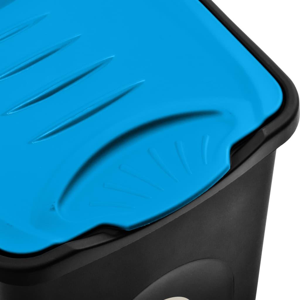 vidaXL Pubelă capac cu balamale, negru și albastru, 50L