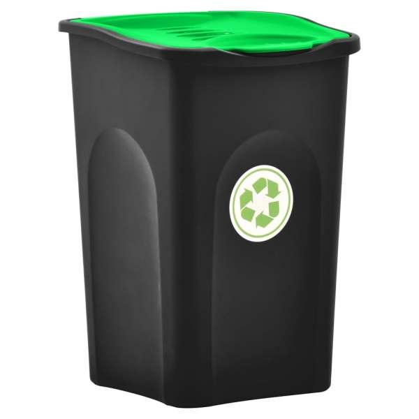 vidaXL Pubelă capac cu balamale, negru și verde, 50L