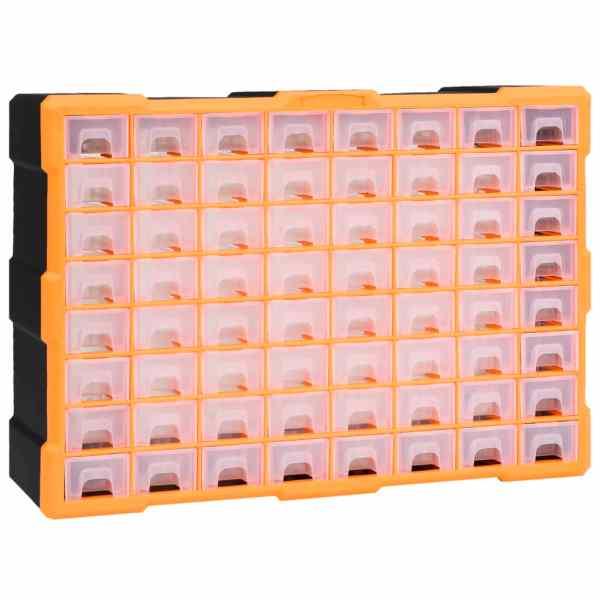 vidaXL Organizator cu 64 de sertare, 52 x 16 x 37,5 cm