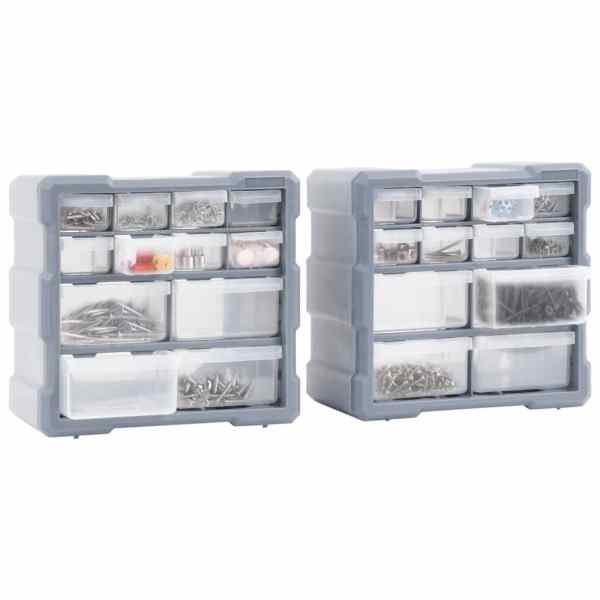 Organizatoare cu 12 sertare, 2 buc., 26,5 x 16 x 26 cm