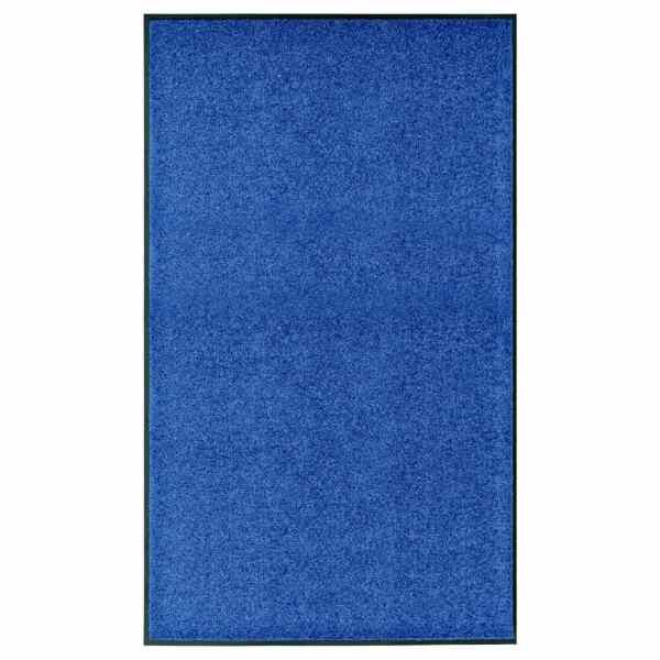 vidaXL Covoraș de ușă lavabil albastru 90×150 cm