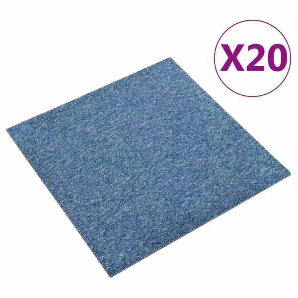vidaXL Plăci de pardoseală, 20 buc., albastru, 50 x 50 cm, 5 m²
