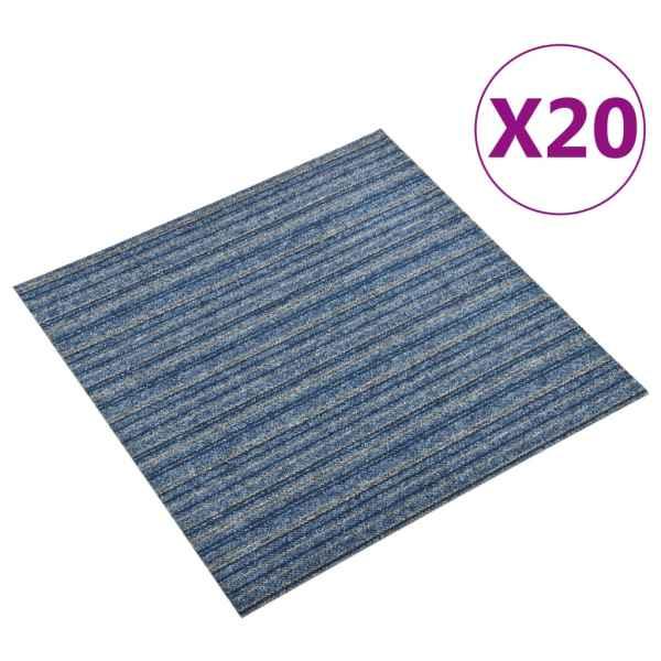 vidaXL Plăci de pardoseală, 20 buc., albastru cu dungi, 50×50 cm, 5 m²