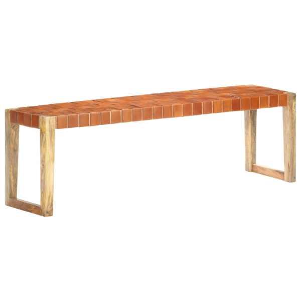 vidaXL Bancă, maro, 150 cm, piele naturală și lemn masiv de mango
