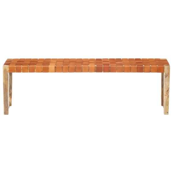 Bancă, maro, 150 cm, piele naturală și lemn masiv de mango