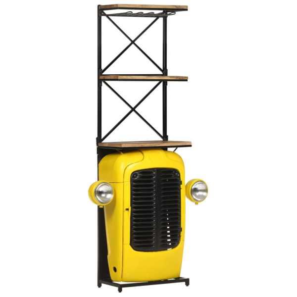 vidaXL Dulap de vin tractor, galben, 49x31x170 cm lemn masiv mango