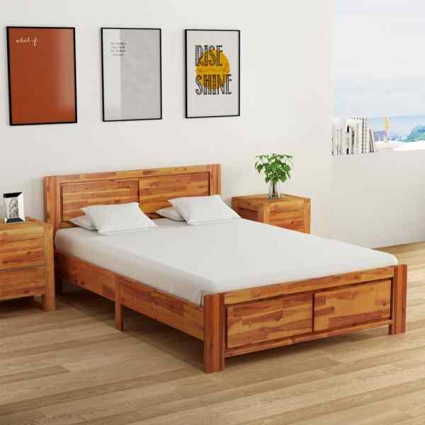 vidaXL Cadru de pat cu 2 noptiere, 140 x 200 cm, lemn masiv de acacia