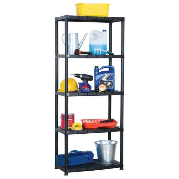 vidaXL Raft de depozitare cu 5 polițe, negru, 71x38x170 cm, plastic