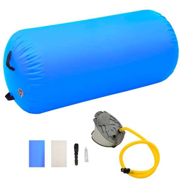 vidaXL Rulou de gimnastică gonflabil cu pompă, albastru, 120×75 cm PVC
