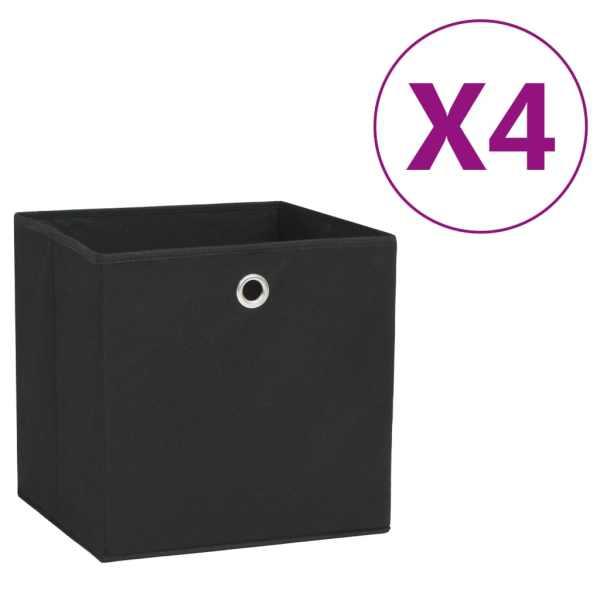 vidaXL Cutii depozitare, 4 buc., negru, 28x28x28 cm, material nețesut