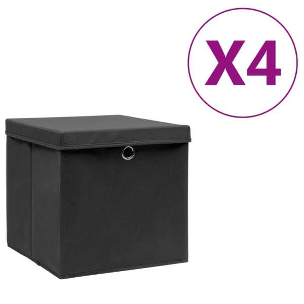 vidaXL Cutii depozitare cu capac, 4 buc., negru, 28 x 28 x 28 cm