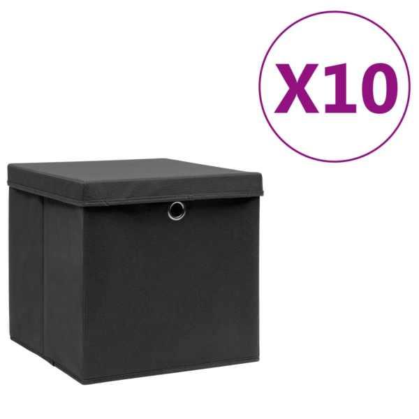 vidaXL Cutii de depozitare cu capac, 10 buc., negru, 28x28x28 cm