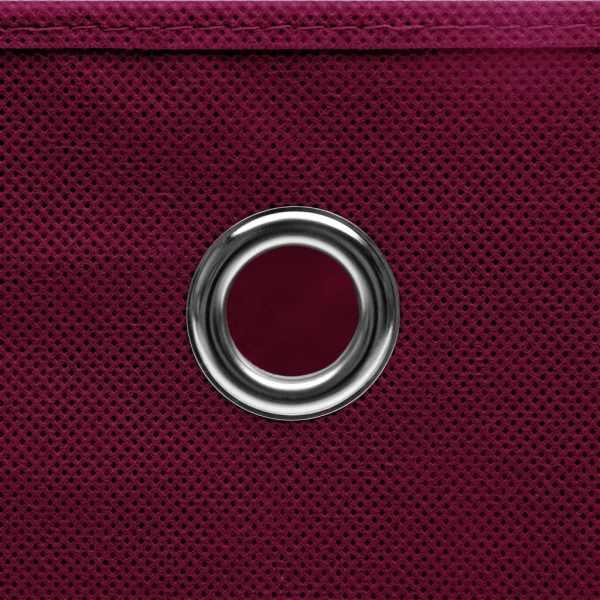 vidaXL Cutii de depozitare cu capac, 10 buc., roșu închis, 28x28x28cm