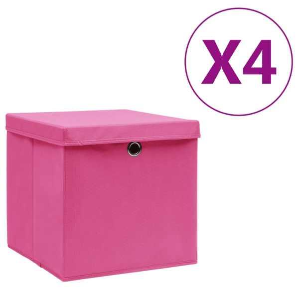 vidaXL Cutii depozitare cu capac, 4 buc., roz, 28x28x28 cm