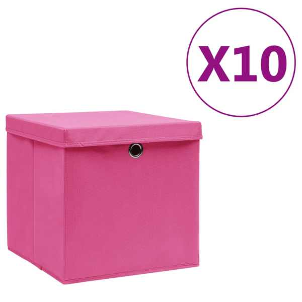 vidaXL Cutii de depozitare cu capac, 10 buc., roz, 28x28x28 cm