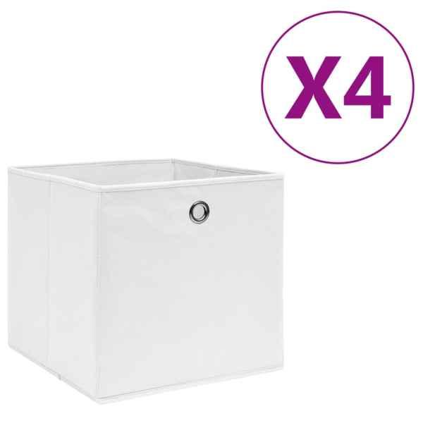 vidaXL Cutii depozitare, 4 buc., alb, 28x28x28 cm, textil nețesut