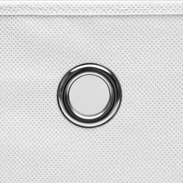 vidaXL Cutii de depozitare cu capac, 10 buc., alb, 28x28x28 cm