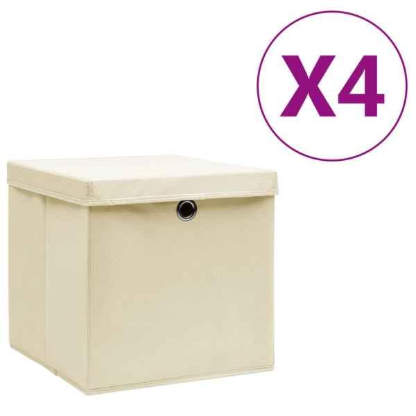 vidaXL Cutii depozitare cu capac, 4 buc., crem, 28x28x28 cm