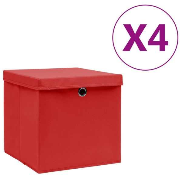vidaXL Cutii depozitare cu capac, 4 buc., roșu, 28x28x28 cm