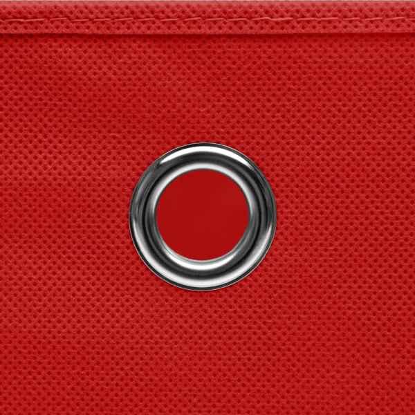 Cutii de depozitare cu capac, 10 buc., roșu, 28x28x28 cm