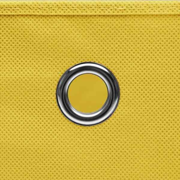 Cutii depozitare cu capac, 4 buc., galben, 28x28x28 cm