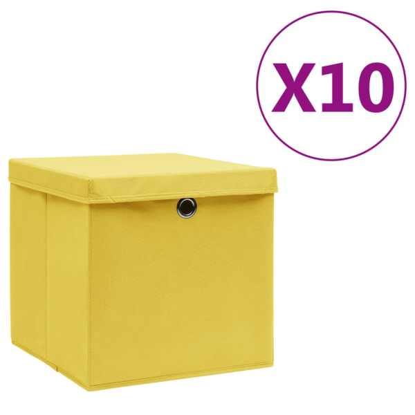vidaXL Cutii de depozitare cu capac, 10 buc., galben, 28x28x28 cm