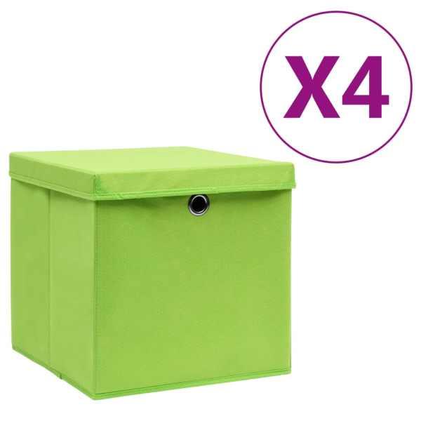 vidaXL Cutii depozitare cu capac, 4 buc., verde, 28x28x28 cm