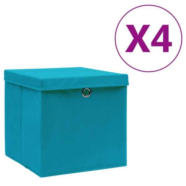 vidaXL Cutii de depozitare cu capac, 4 buc., bleu, 28x28x28 cm