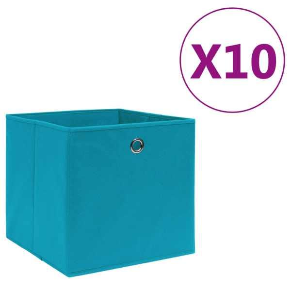 vidaXL Cutii depozitare, 10 buc., bleu, 28x28x28 cm, material nețesut