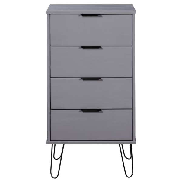 Comodă cu sertare, gri, 45×39,5×90,3 cm, lemn masiv de pin