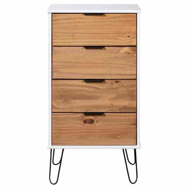 Comodă sertare, lemn deschis și alb, 45×39,5×90,3, lemn pin