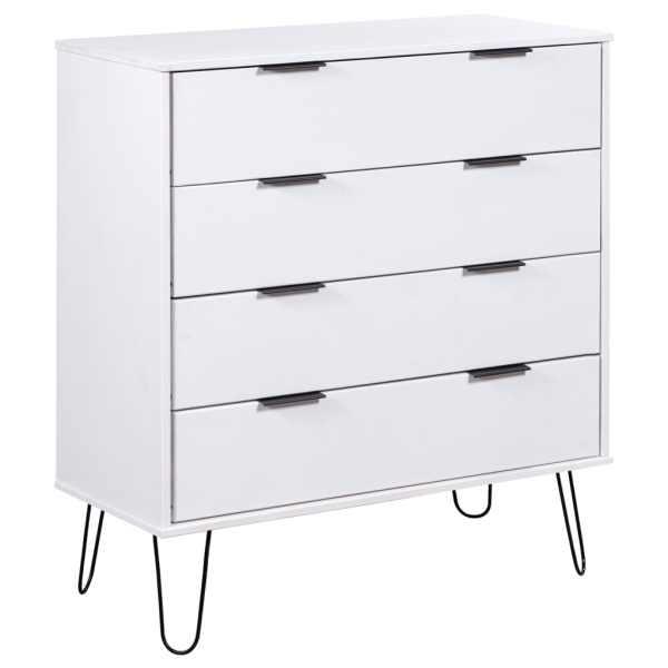 vidaXL Comodă cu sertare alb 76,5×39,5×90,3 cm lemn masiv de pin
