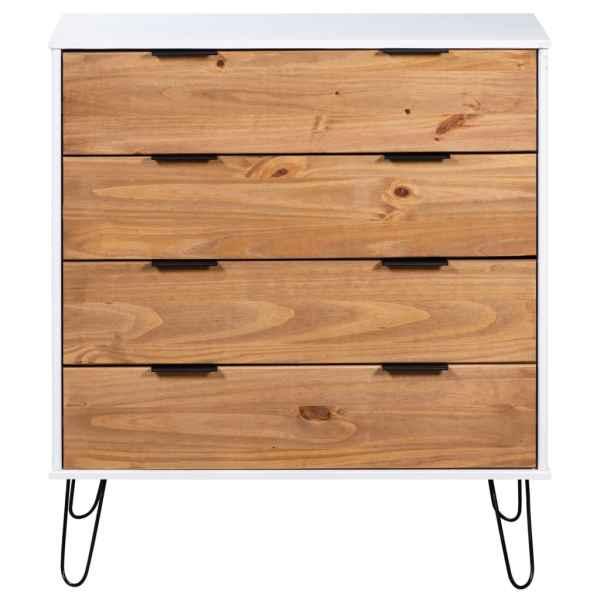 Comodă cu sertare lemn deschis & alb 76,5×39,5×90,3 cm lemn pin