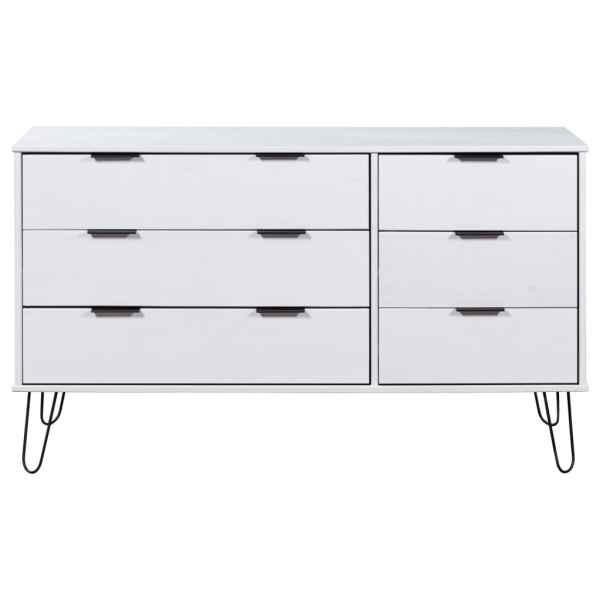 vidaXL Comodă cu sertare, alb, 119,3×39,5×73,6 cm, lemn masiv de pin