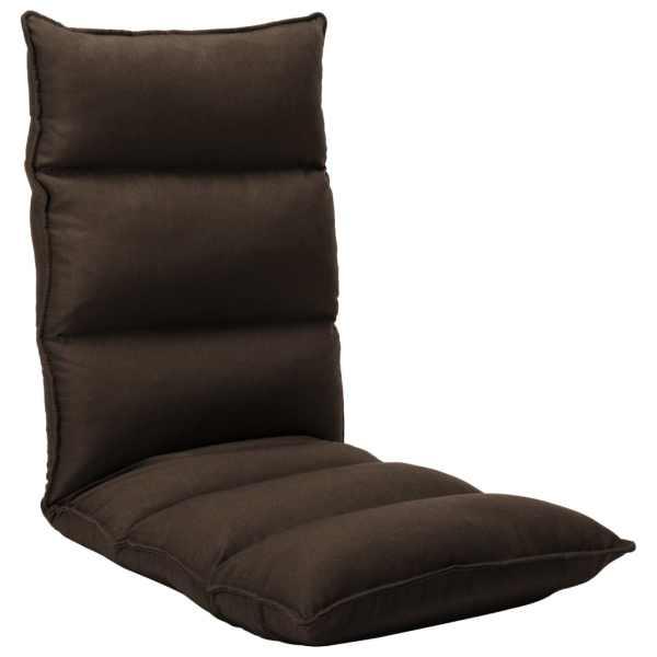 vidaXL Scaun de podea pliabil, maro, material textil