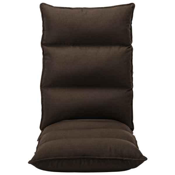 Scaun de podea pliabil, maro, material textil