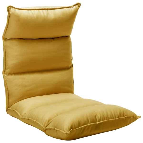 vidaXL Scaun de podea pliant, galben muștar, material textil