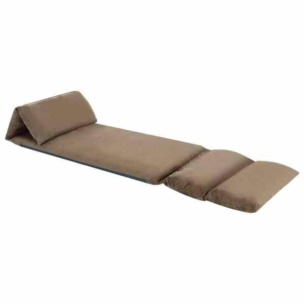 Scaun de podea pliabil, gri taupe, microfibră
