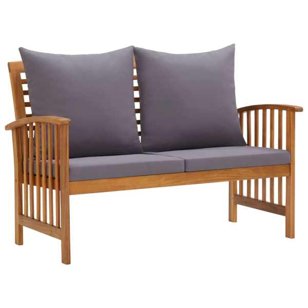vidaXL Bancă de grădină cu perne, 119 cm, lemn masiv de acacia