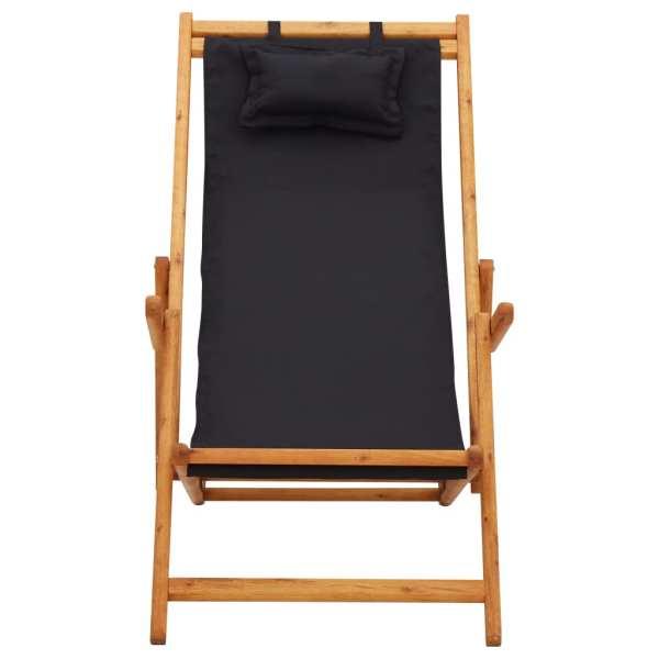 Scaun de plajă pliabil, negru, lemn masiv de eucalipt, textil