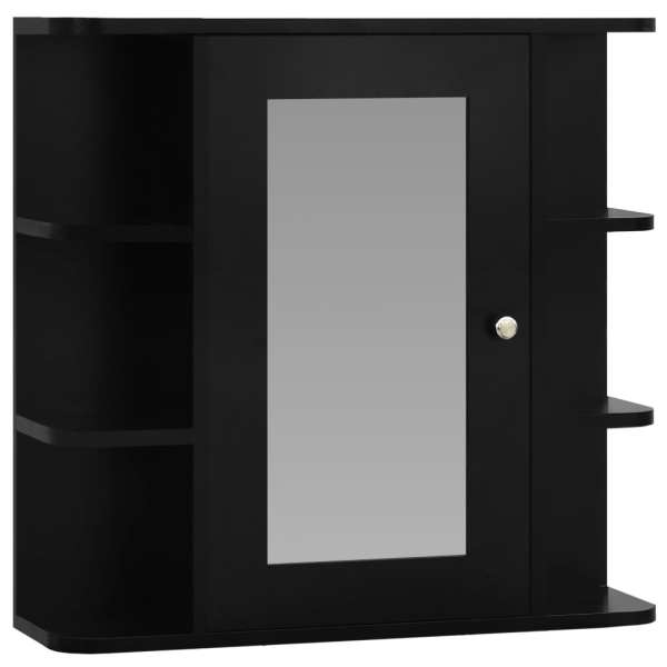 Dulap de baie cu oglindă, negru, 66 x 17 x 63 cm, MDF