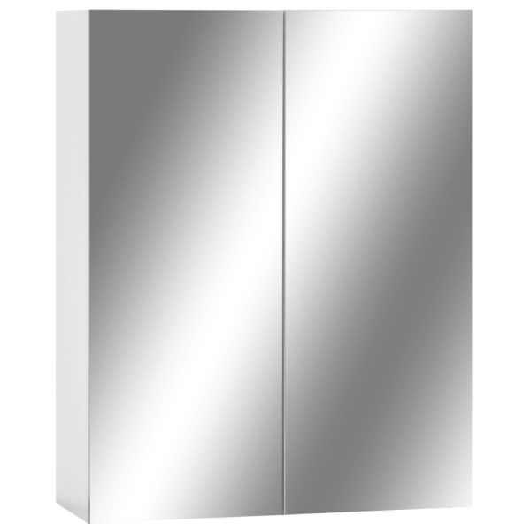 vidaXL Dulap de baie cu oglindă, alb, 60 x 15 x 75 cm, MDF